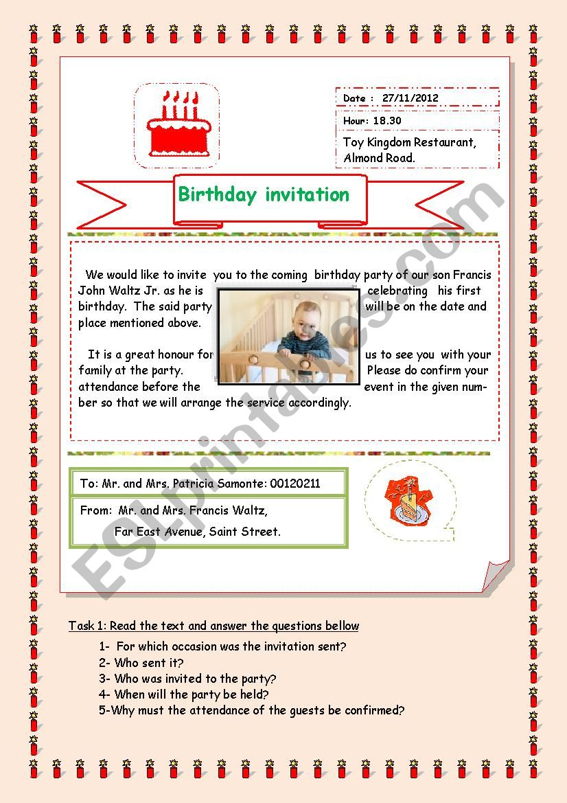 a letter of invitation worksheet