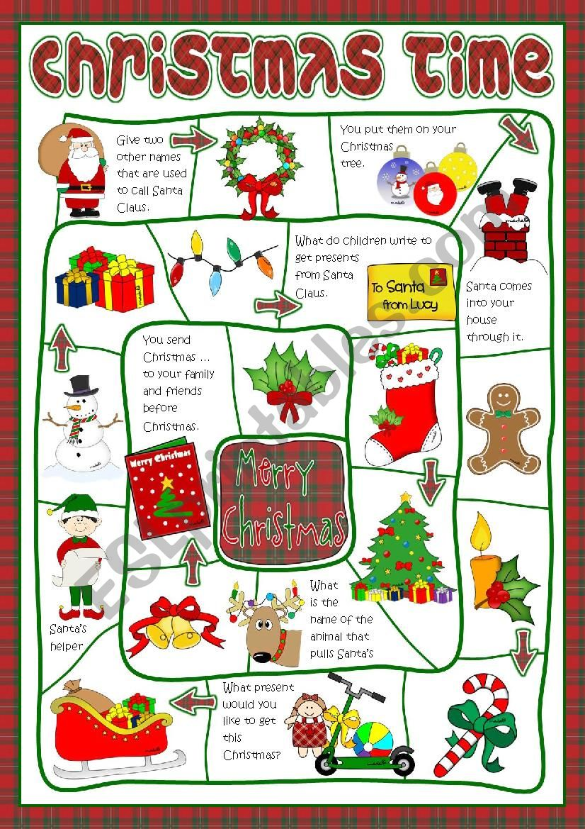 Christmas time - board game worksheet