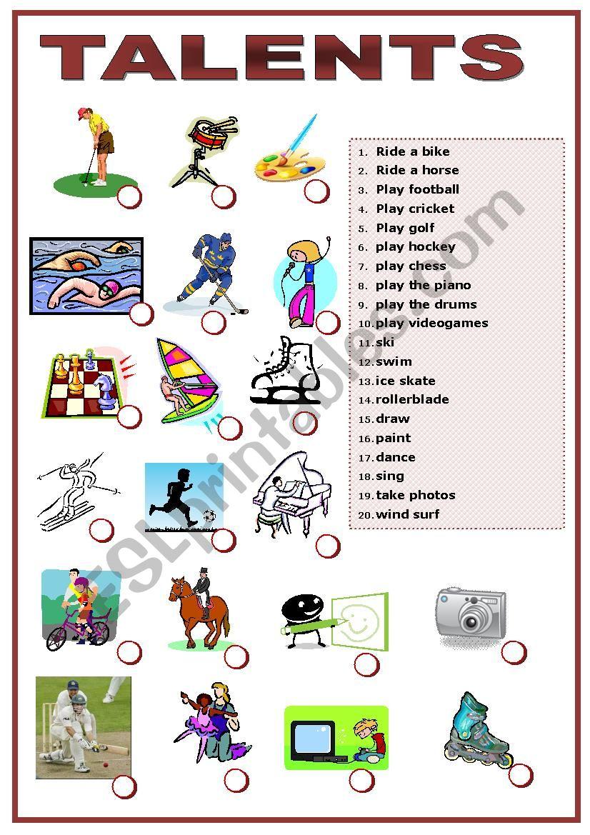 Talents matching exercise worksheet