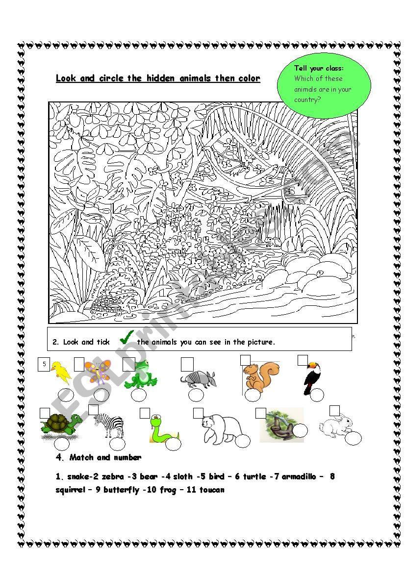Hidden animals worksheet