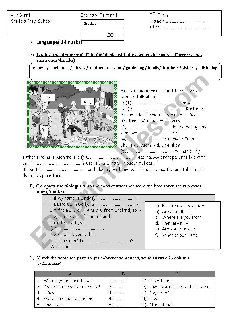 Test + Listening worksheet