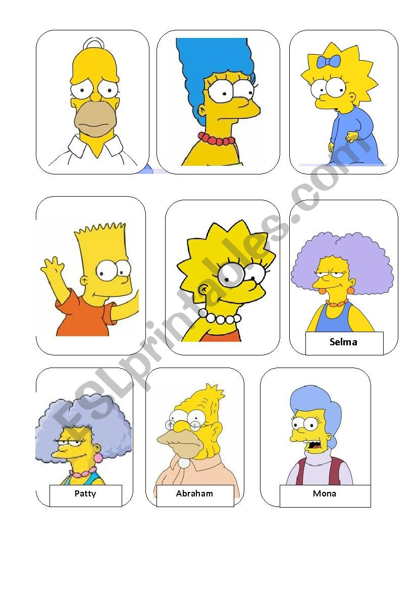 The Simpson Family worksheet