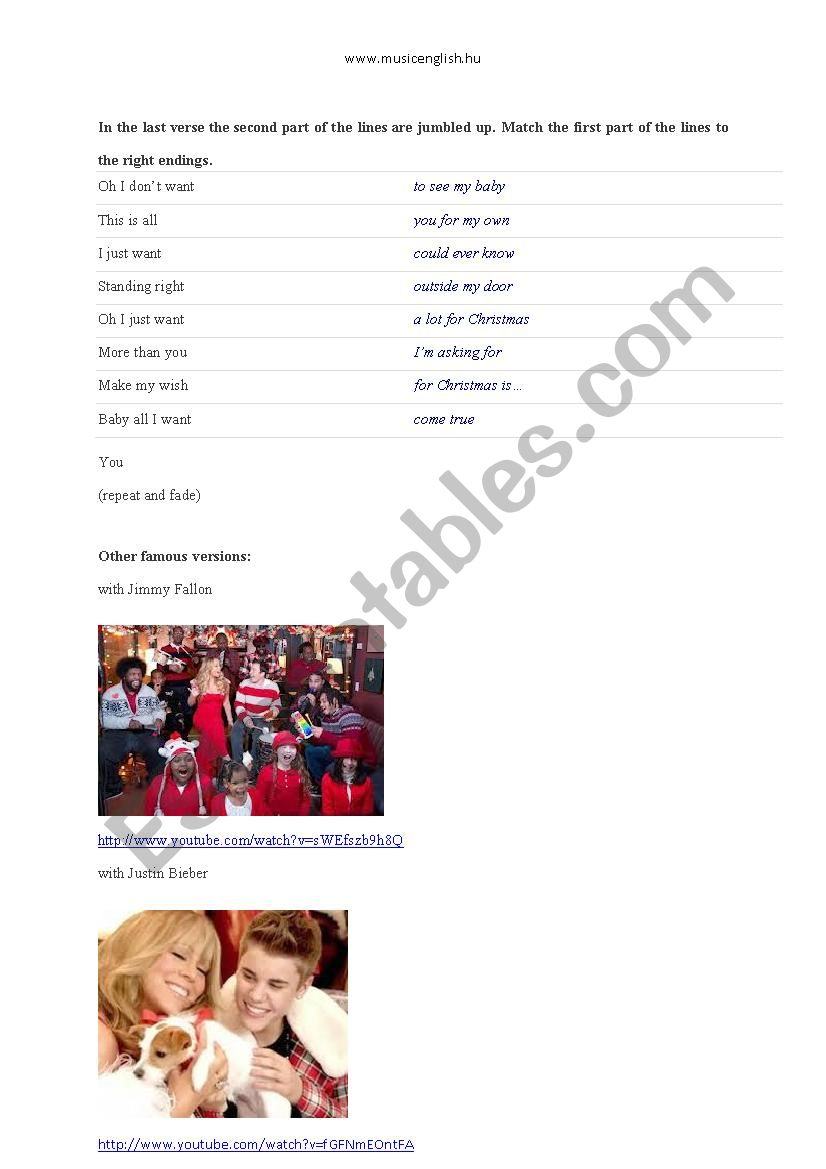MARIAH CAREY: All I Want For Christmas Is You - ESL worksheet by ...