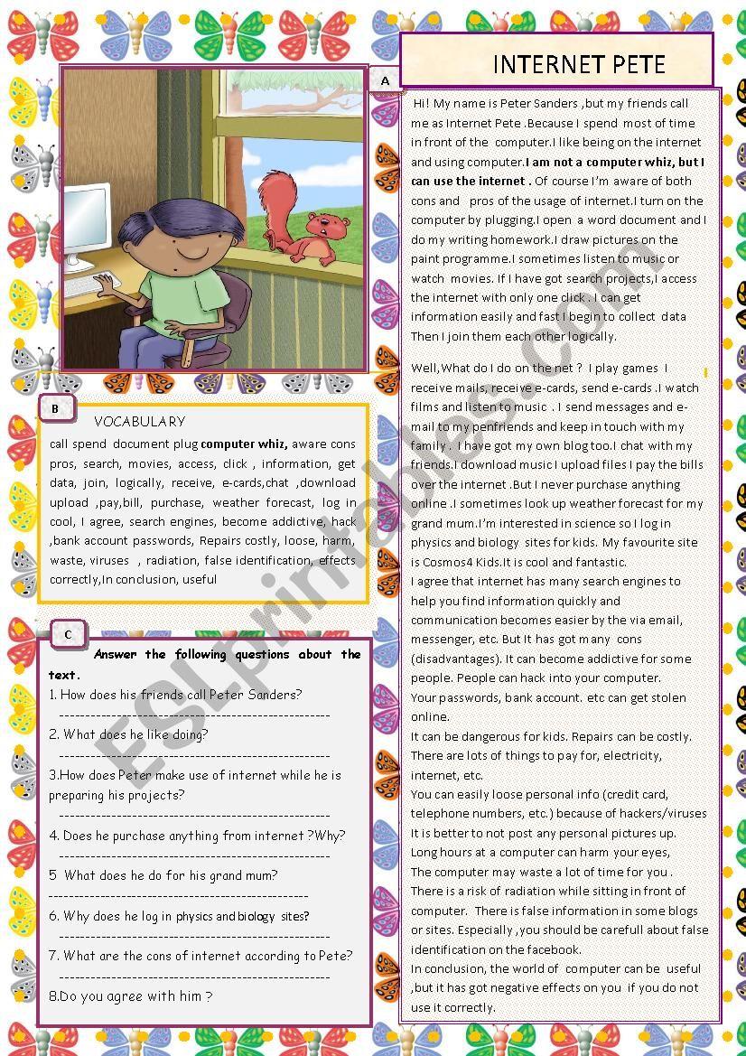 INTERNET PETE  with KEY worksheet