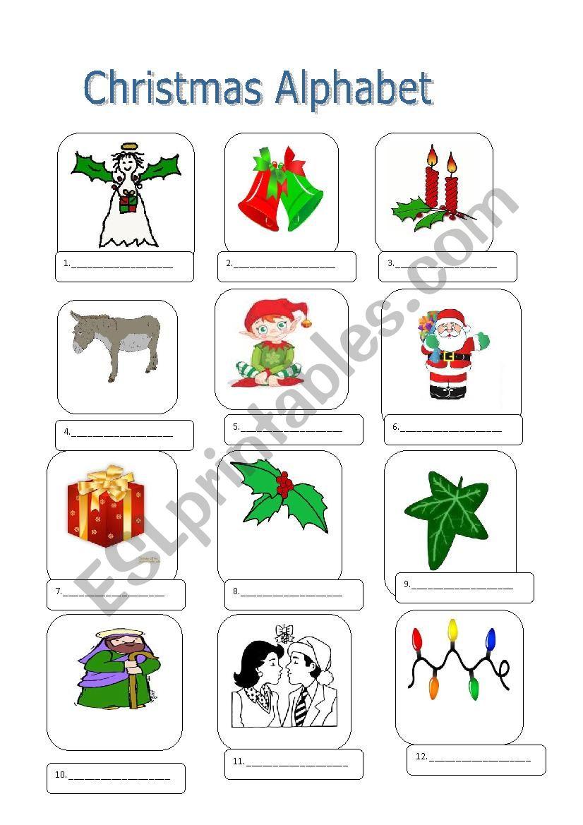 Christmas Alphabet-First Part worksheet