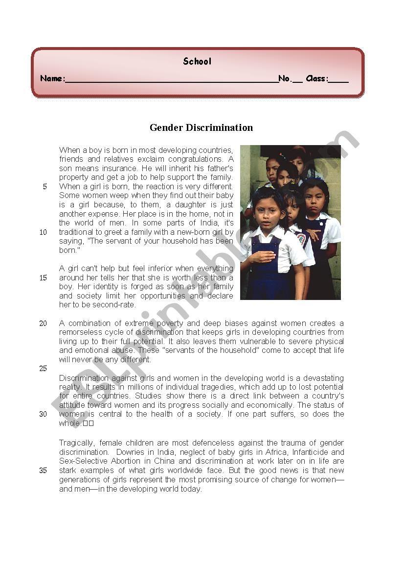 Gender discrimination /Discrimination against women