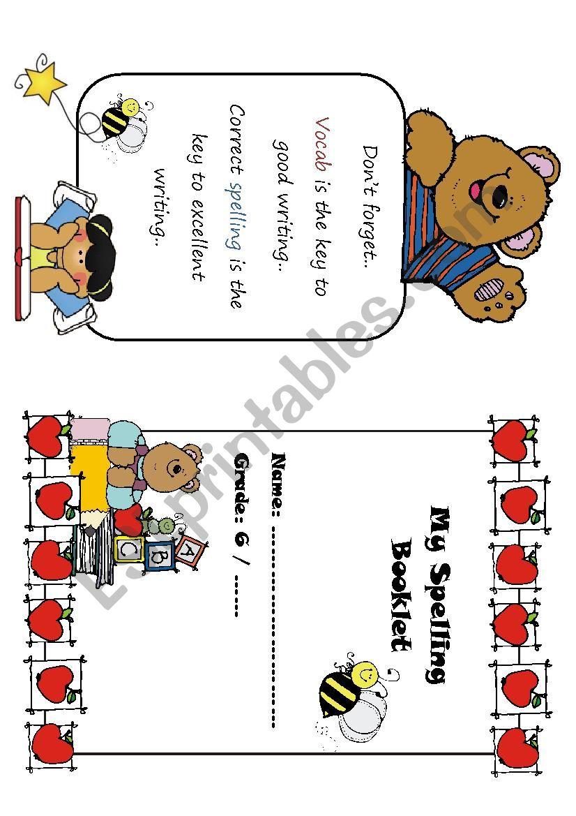 My Spelling Booklet worksheet