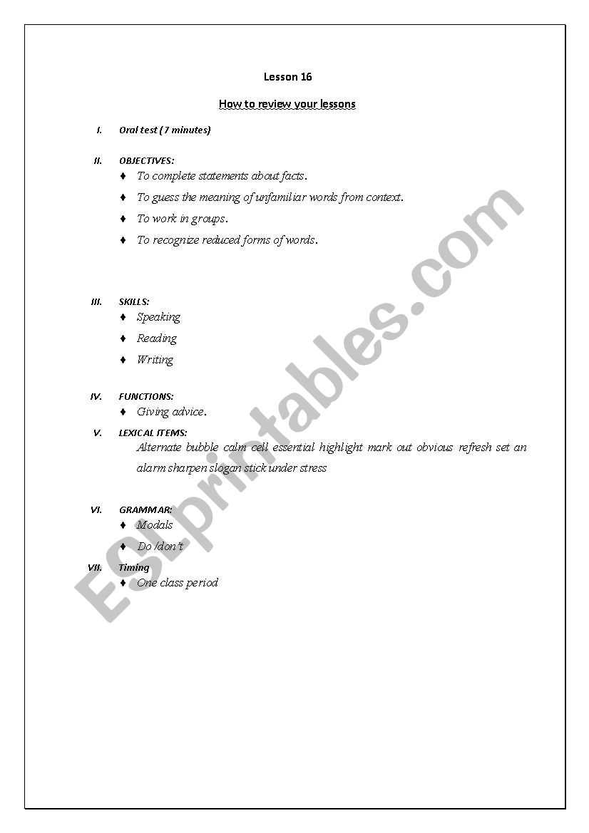How to review you lessons - ESL worksheet by azoura