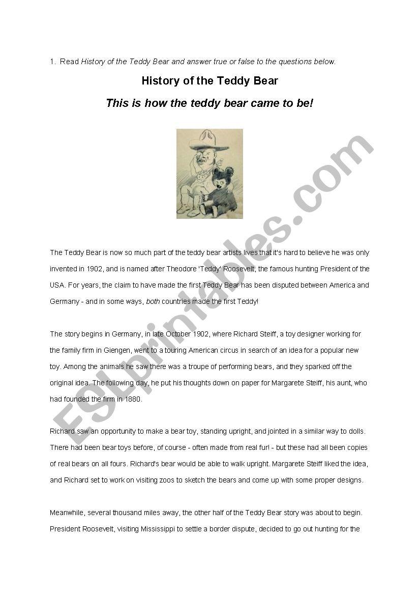 History of the Teddy Bear Reading Comprehension - ESL worksheet by MissR