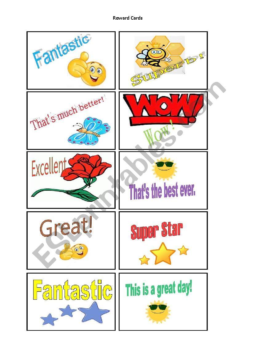 Reward Cards worksheet