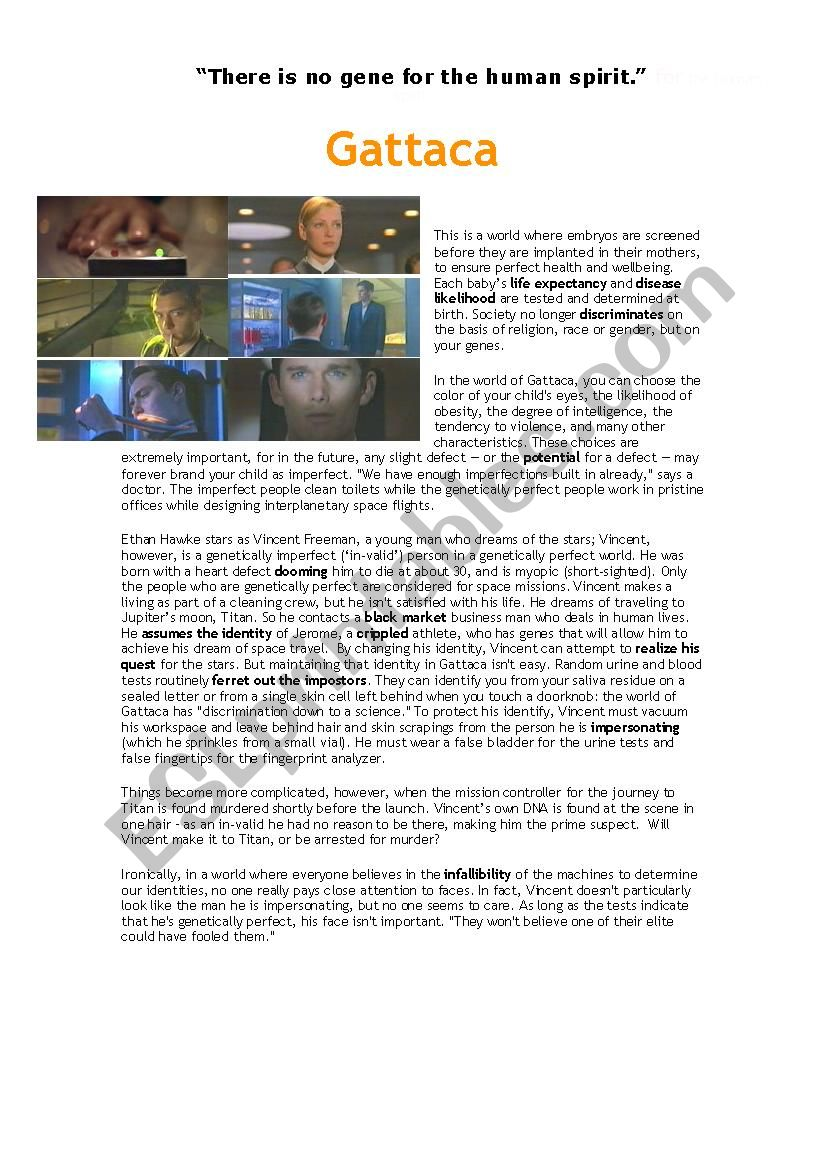 Gattaca Synopsis Reading Comprehension And Vocabulary