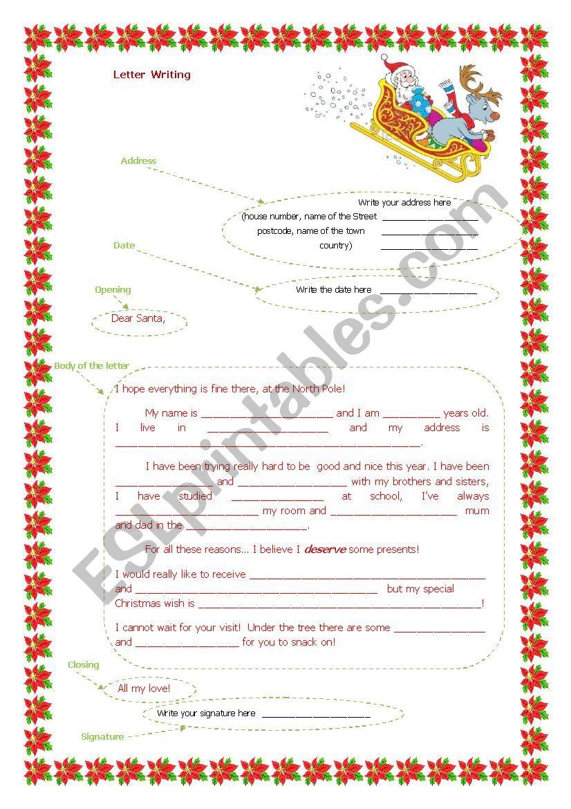 SANTA CLAUS LETTER WRITING worksheet
