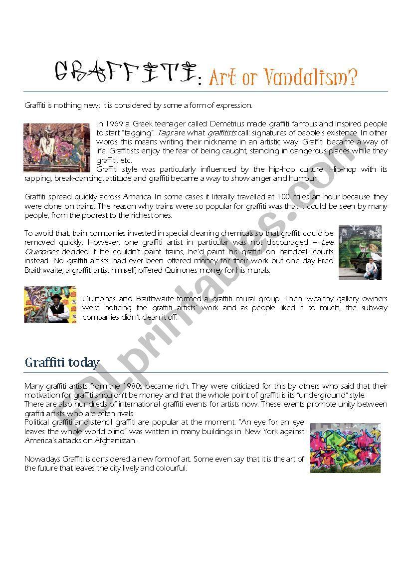 GRAFFITI: Art or Vandalism? worksheet