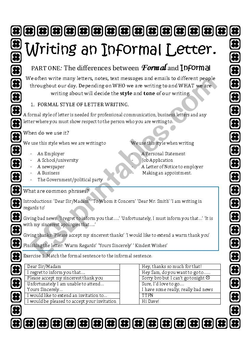 writing an informal letter- part one