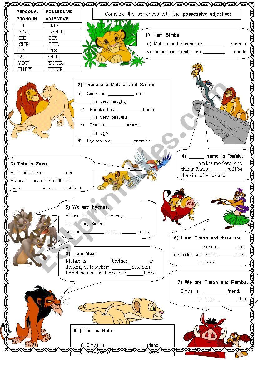 Possessive pronouns with the Lion King