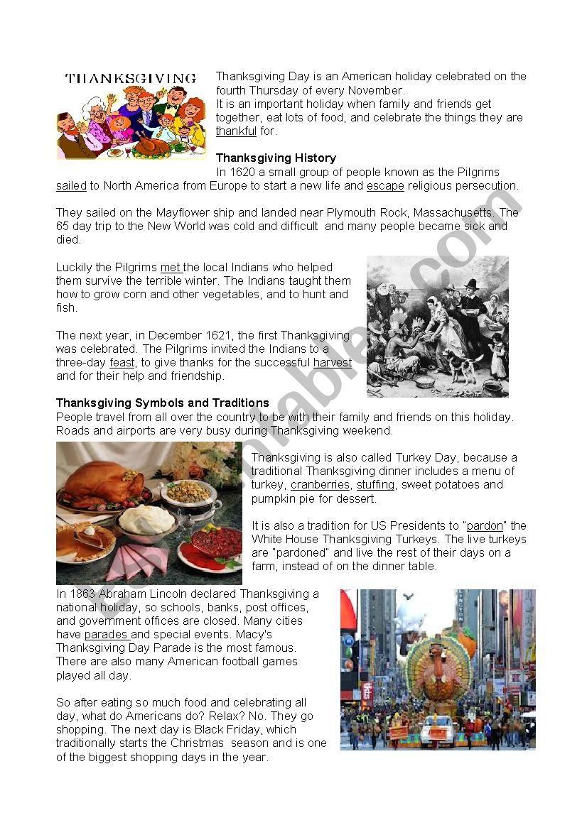 Thanksgiving worksheet
