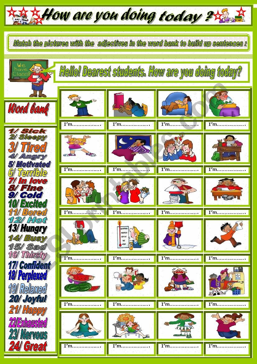 How are you today? + Key worksheet