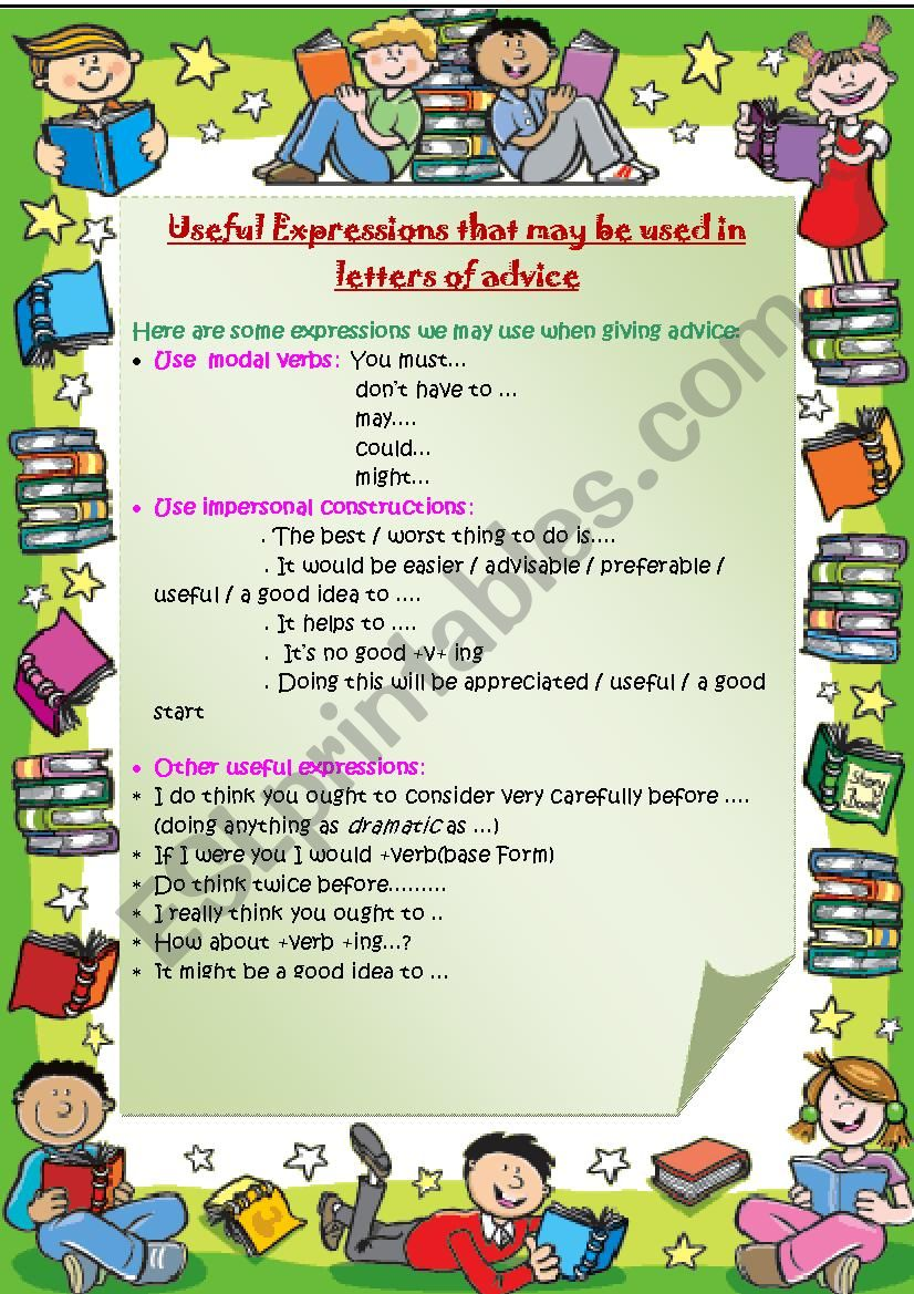 USEFUL EXPRESSIONS FOR A LETTER OF ADVICE