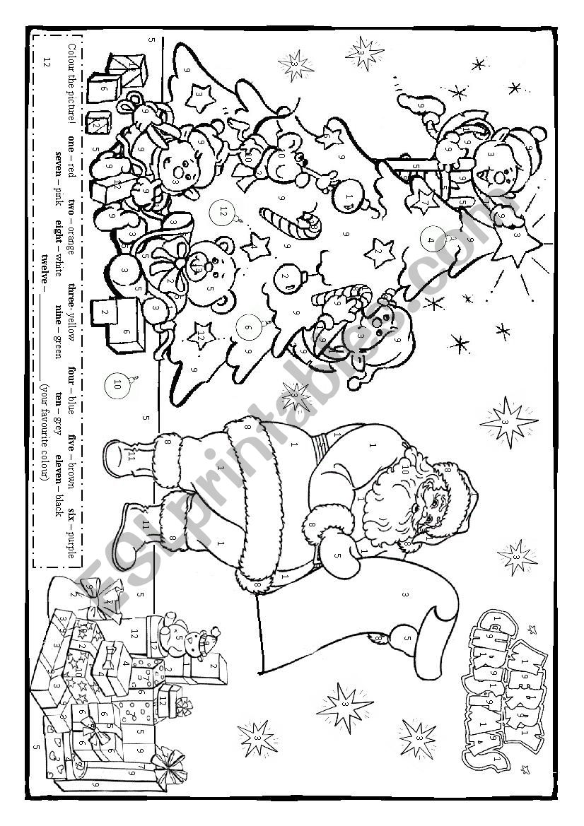 Christmas colouring! (colours, numbers 1-12) - ESL ...