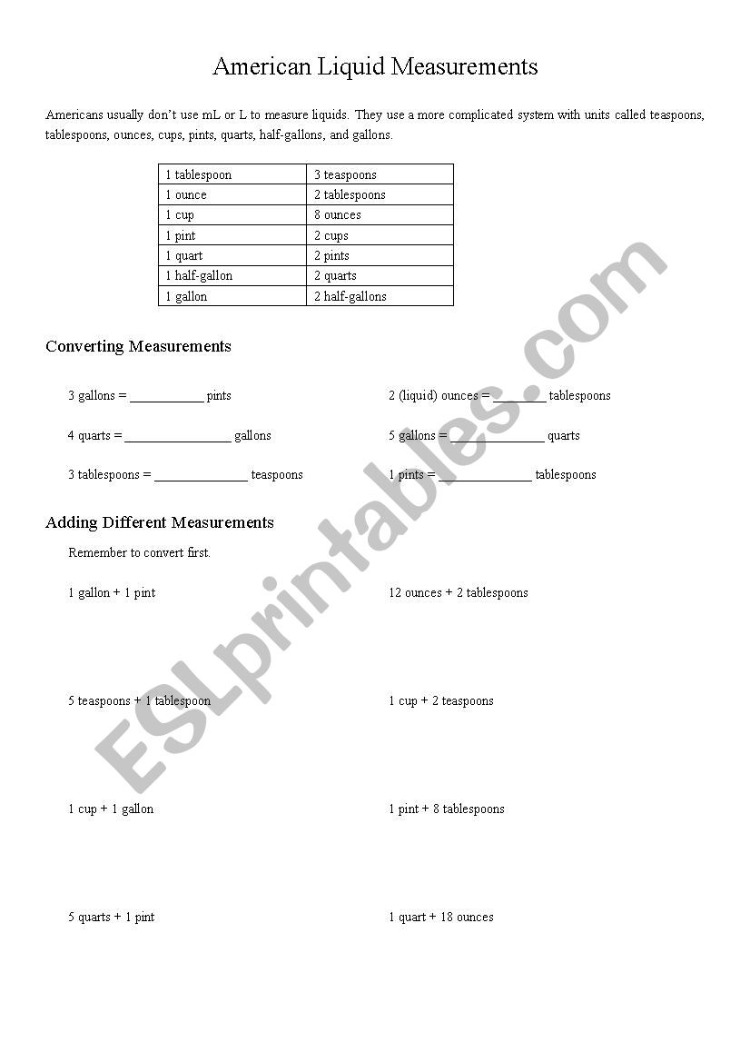 Converting Liquid Measurements Esl Worksheet By Shannonfax