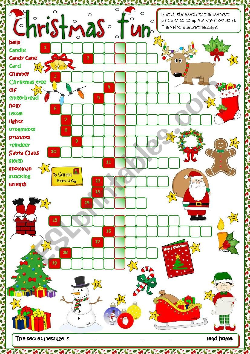 photograph relating to Holiday Crossword Puzzles Printable identified as Xmas enjoyment - crossword - ESL worksheet as a result of mada_1