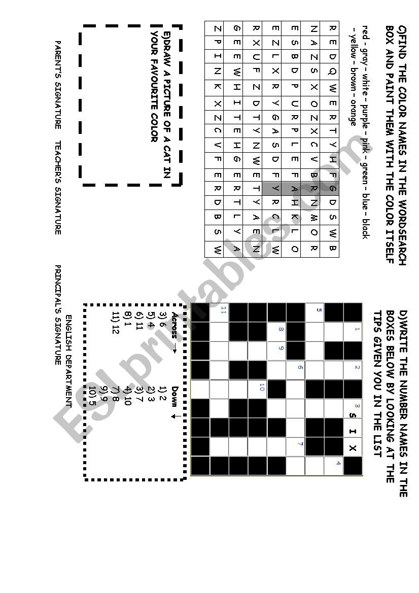 colors, numbers,puzzle worksheet