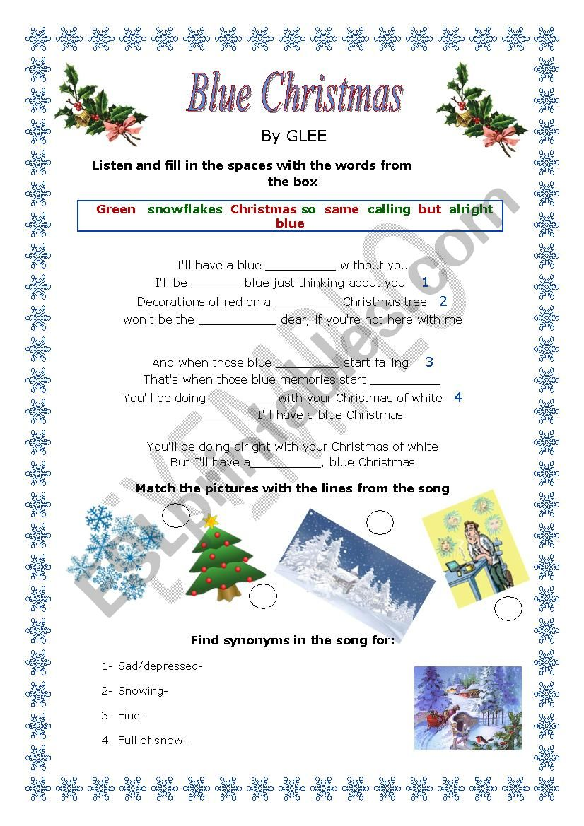 8e603a88c Blue Christmas - *** Glee Song*** - ESL worksheet by marta veiga