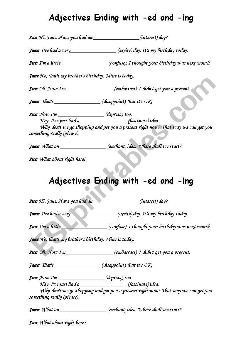 Adjectives Ending In Ed And Ing Esl Worksheet By