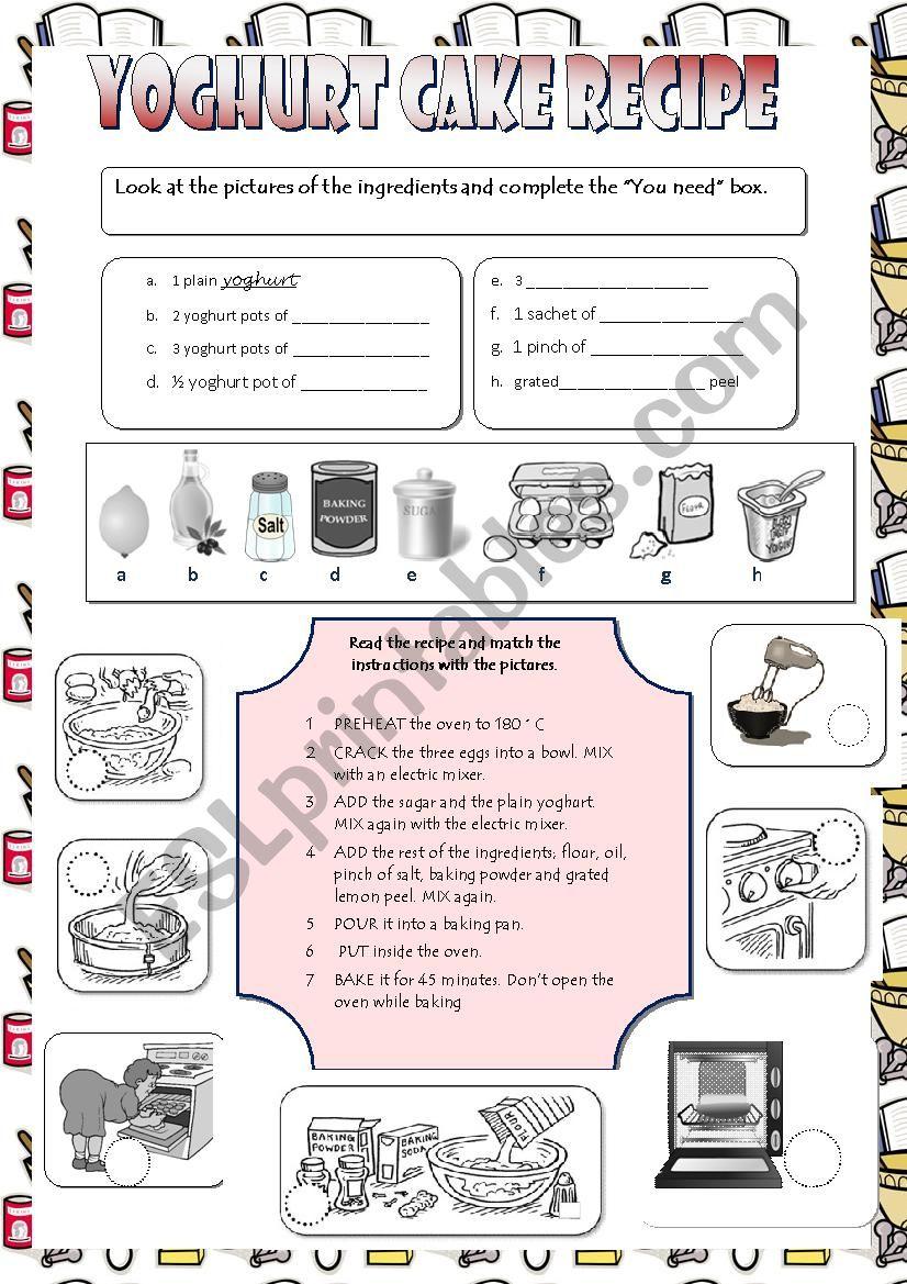 Yoghurt cake recipe worksheet