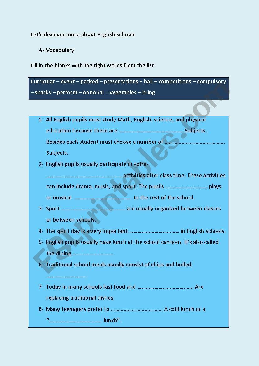 About english secondary schools - ESL worksheet by sawsen abid