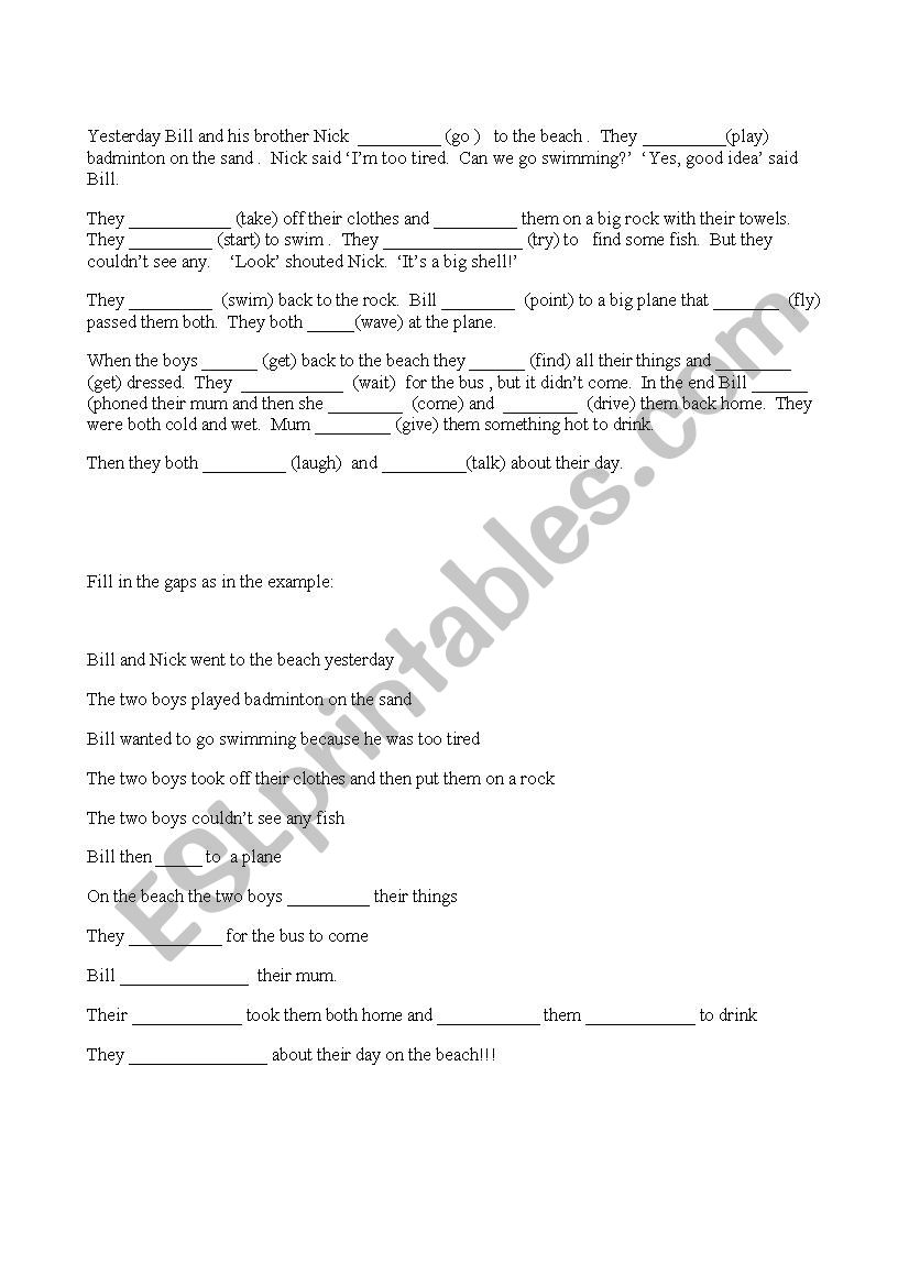 movers practice worksheet