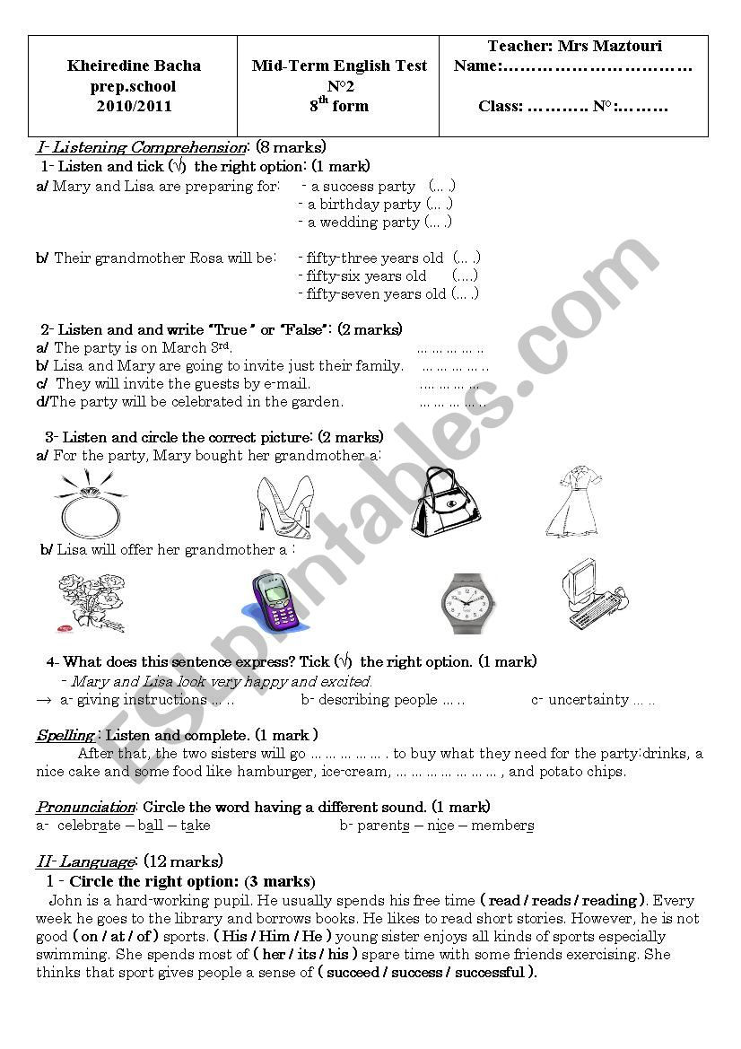 mid-term test 2 for 8th form (tunisian school)