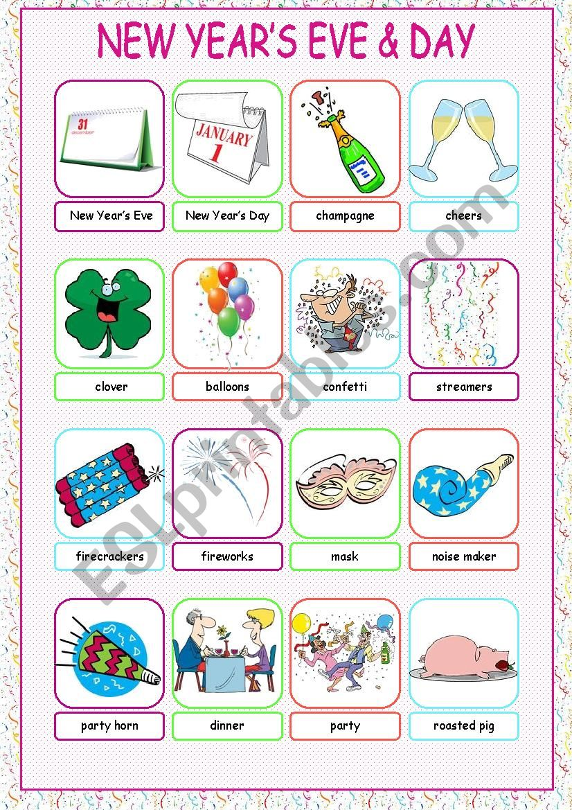 New Year´s Eve & Day Picture Dictionary