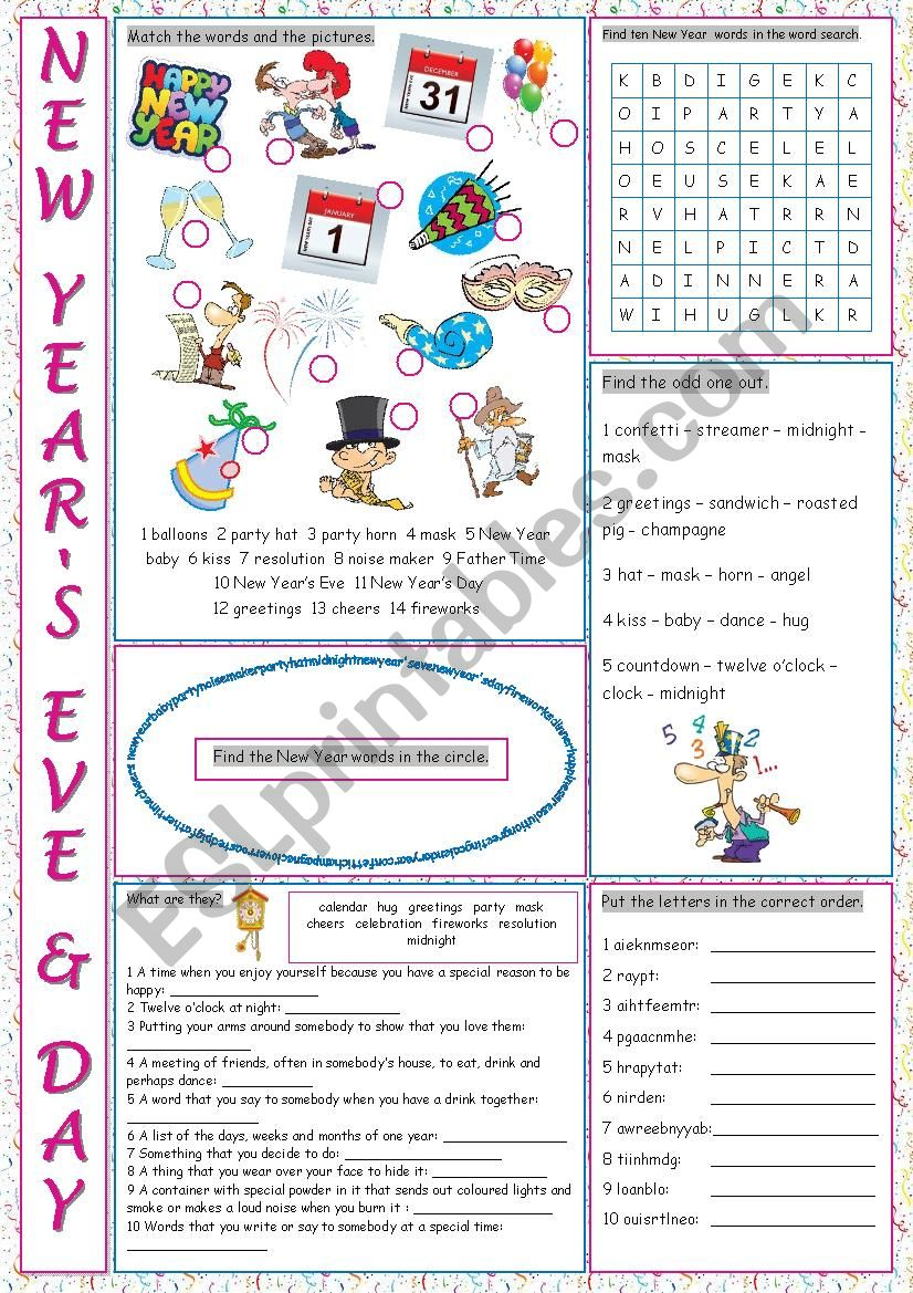 New Year´s Eve & Day Vocabulary Exercises