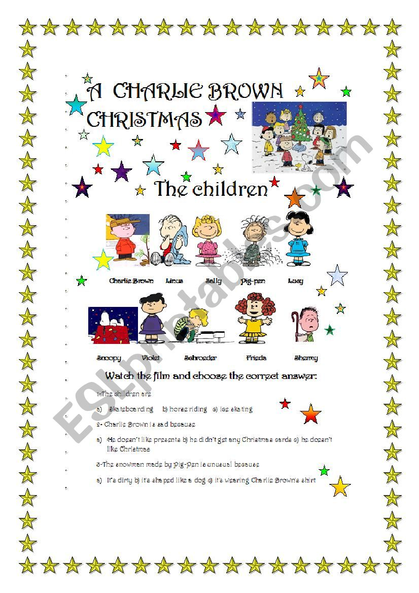 English worksheets: A Charlie Brown Christmas- Film part 1/3