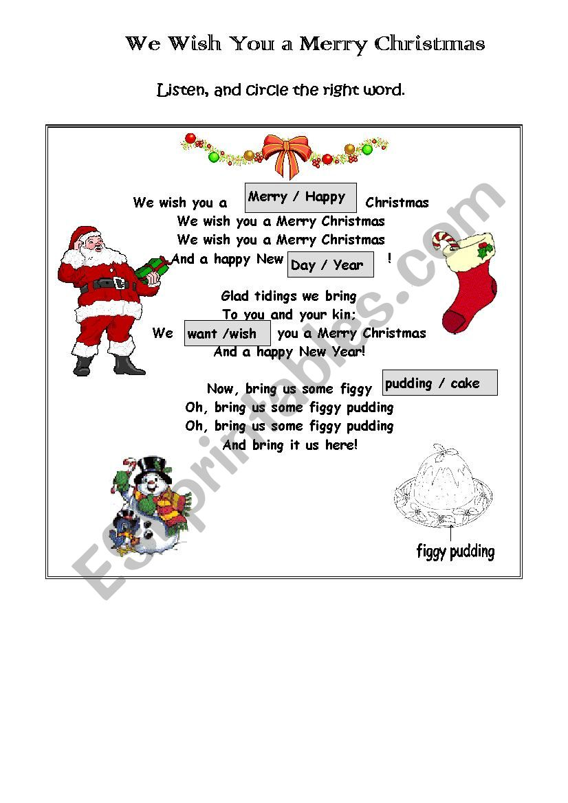 This is an image of Words to We Wish You a Merry Christmas Printable pertaining to carol singing