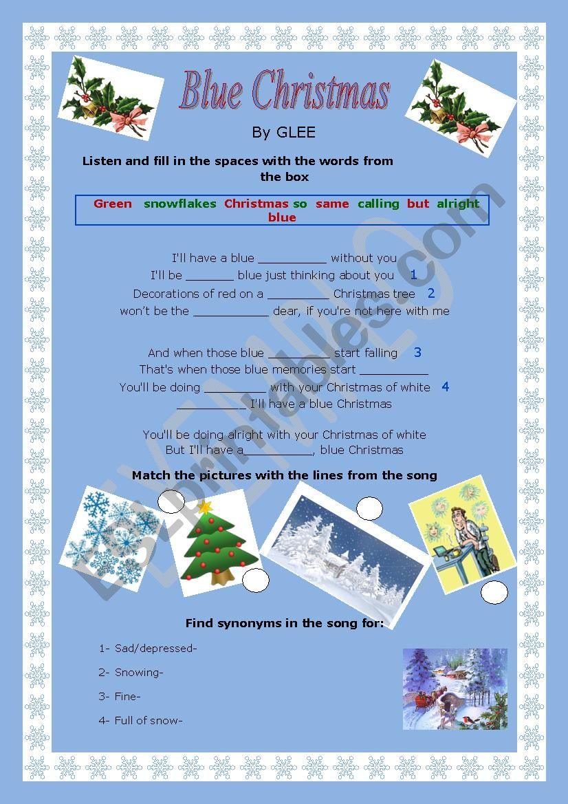 20380a97b Blue christmas: A Glee song *the blue version* - ESL worksheet by ...