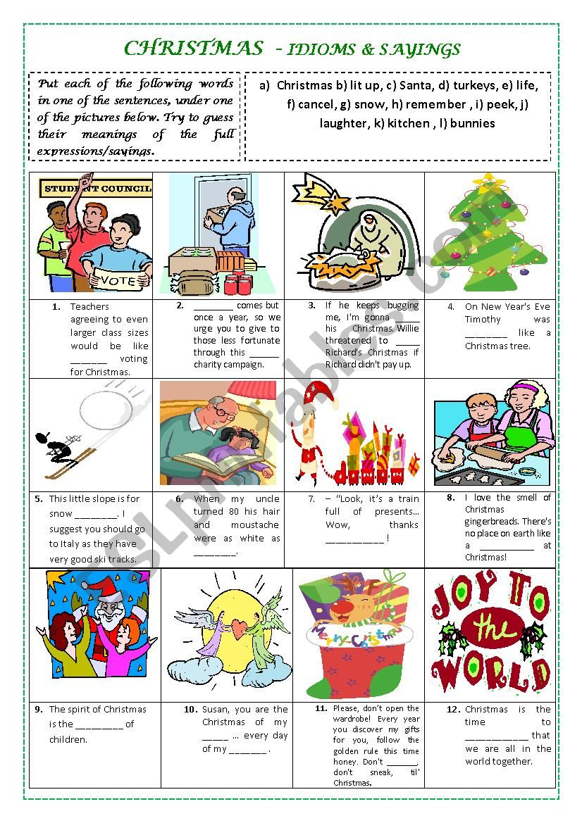 christmas idioms sayings with key and explanations - Christmas Idioms