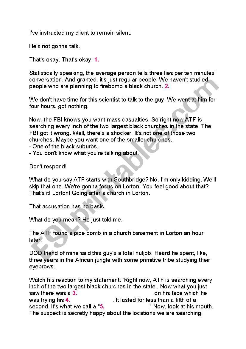 Lie to me - tv series 1x01 worksheet