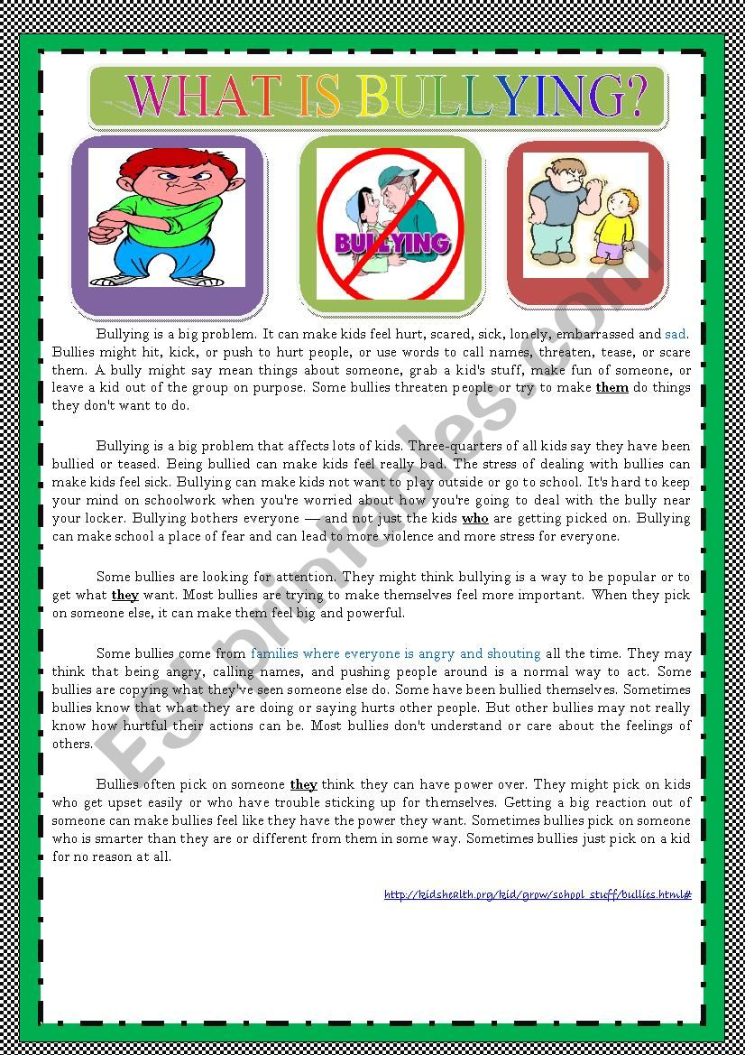 WHAT IS BULLYING? worksheet