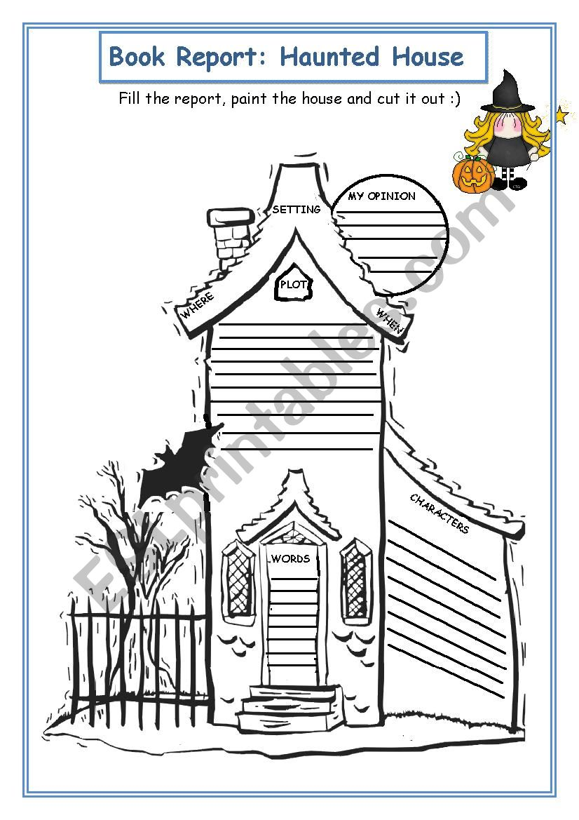 Book Report: Haunted House - ESL worksheet by mjotab