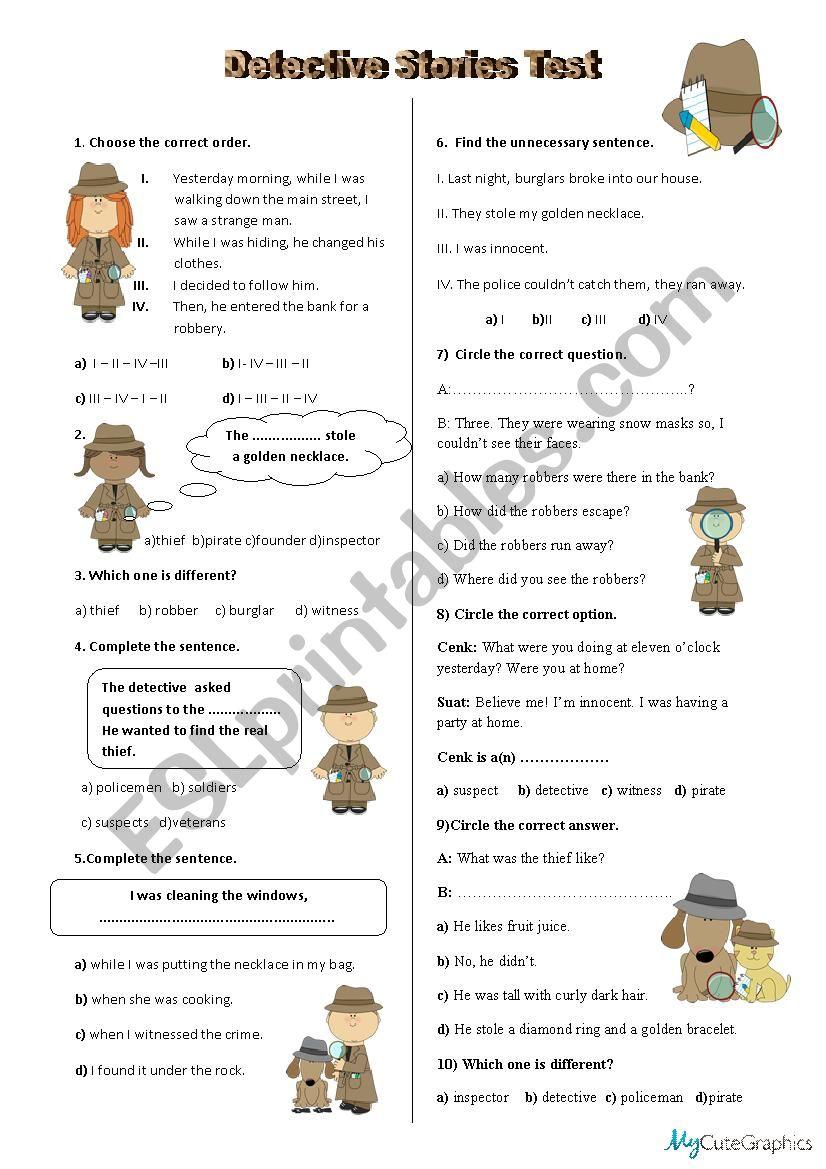 Detective Stories Test  worksheet