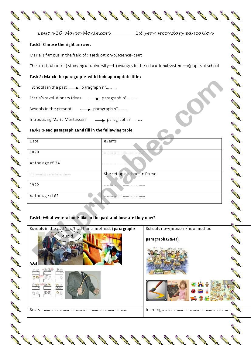 English Worksheets Lesson 10maria Montessori2 Pages