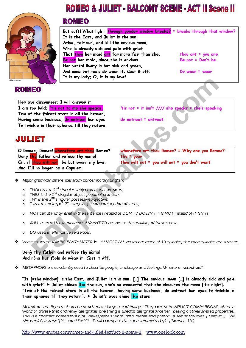 SHAKESPEARE´S BALCONY SCENE - ESL worksheet by cerix64