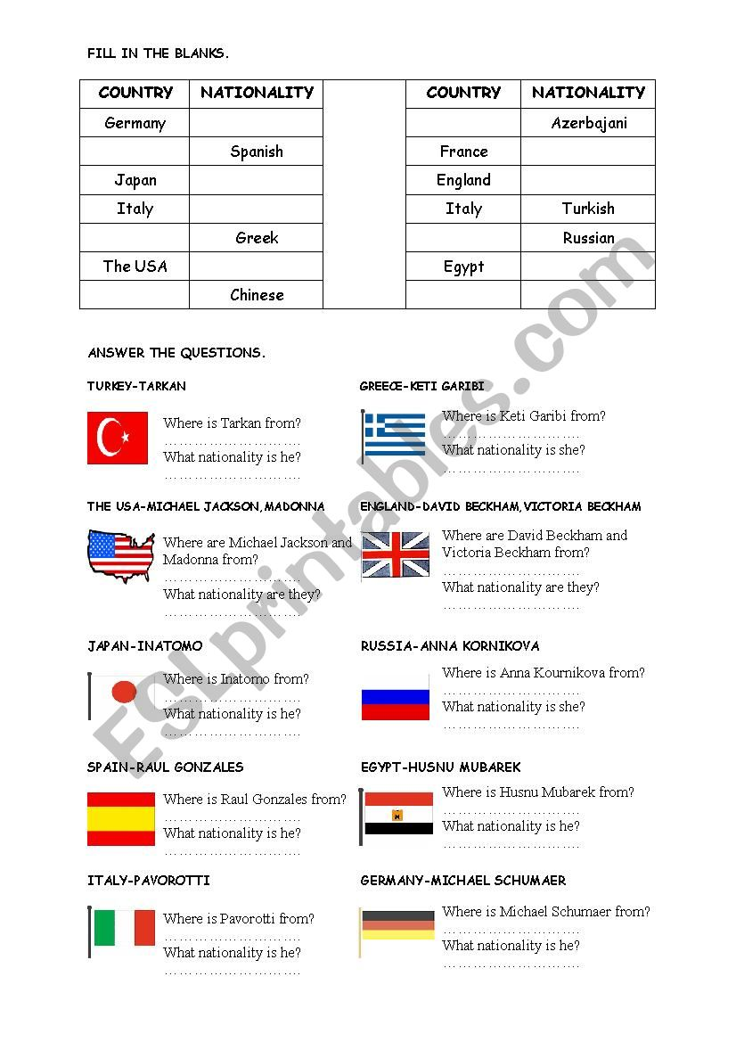 countries with flags worksheet