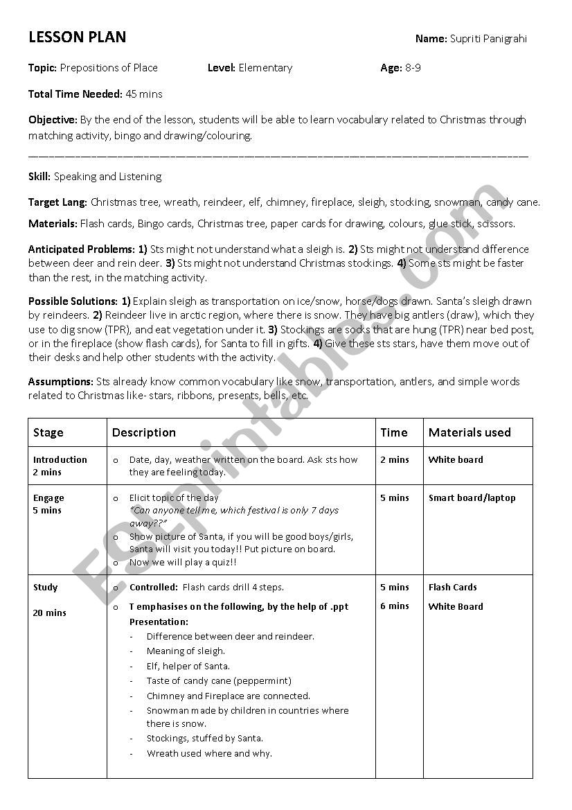 Christmas Lesson Plan worksheet