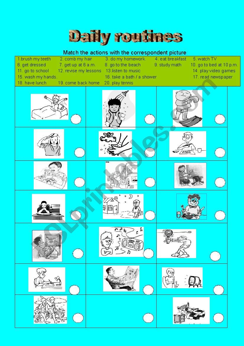 daily routines / activities - ESL worksheet by mazil