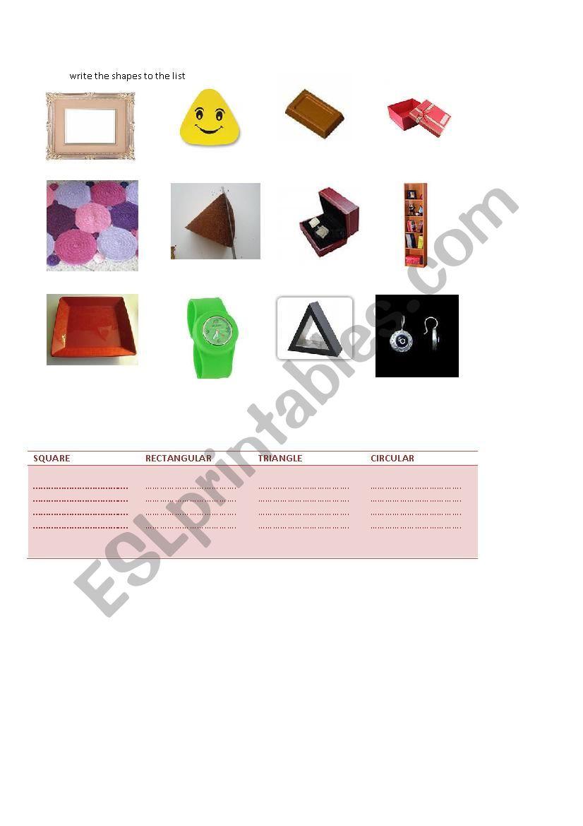 mathematical shapes worksheet