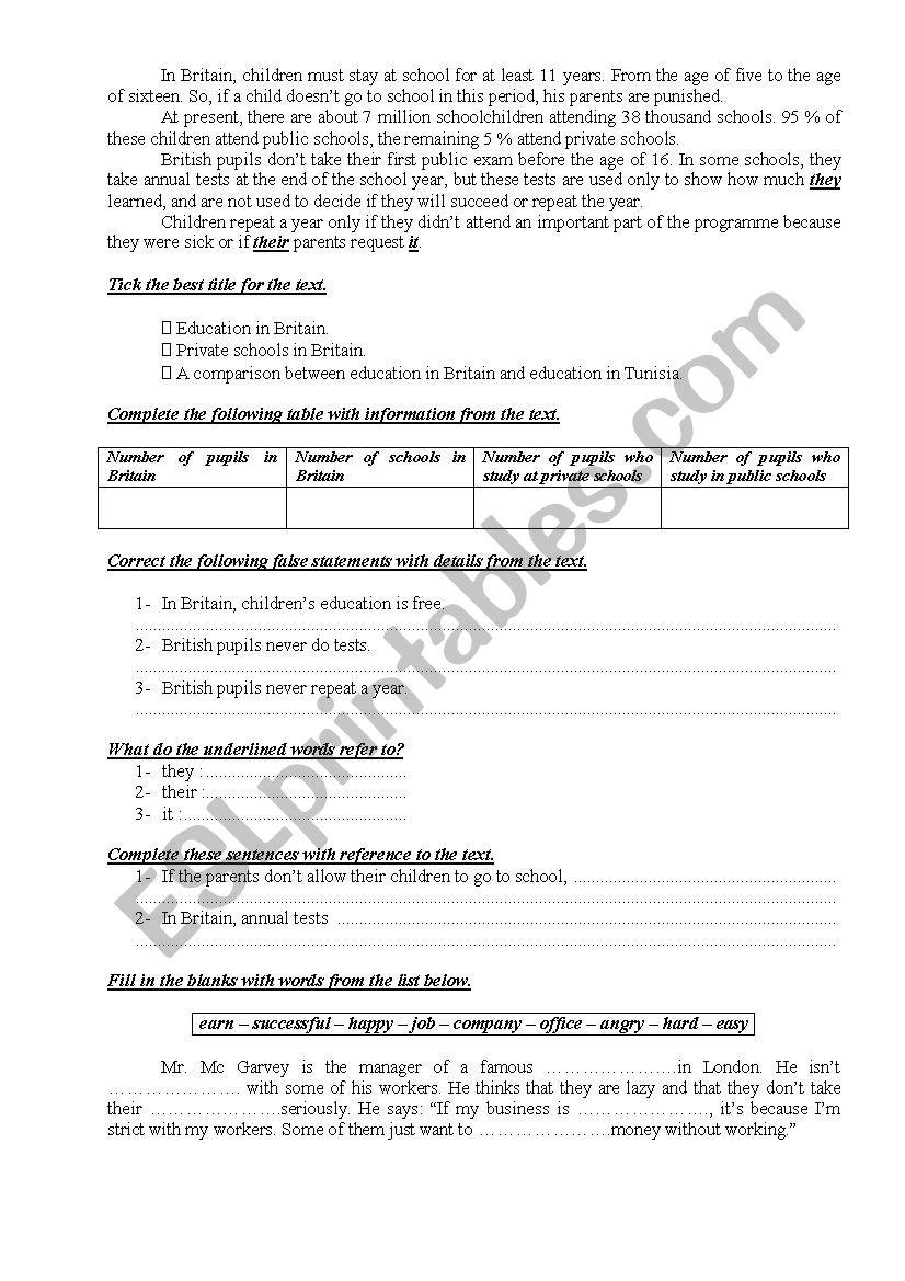 9th Form Worksheet 39 worksheet