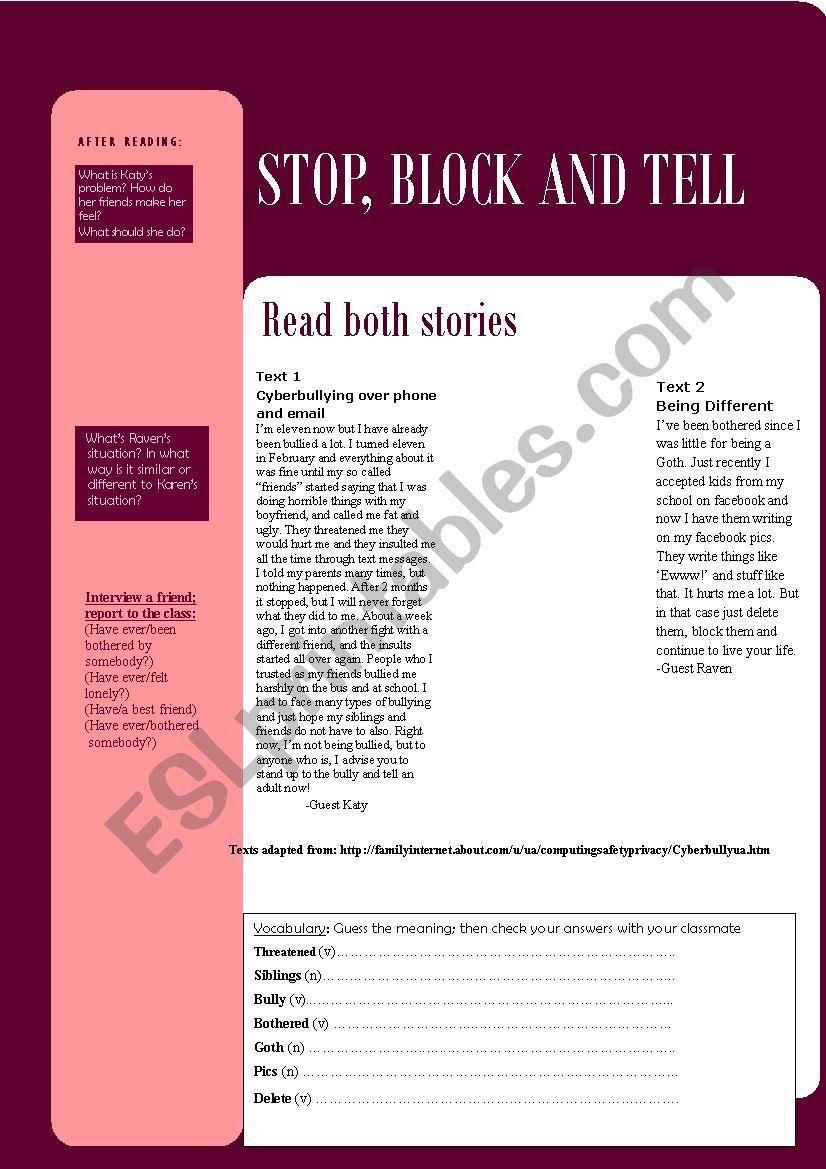 Cyberbullying- part 1 worksheet